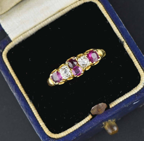 18K Solid Gold Antique Diamond Ruby Ring