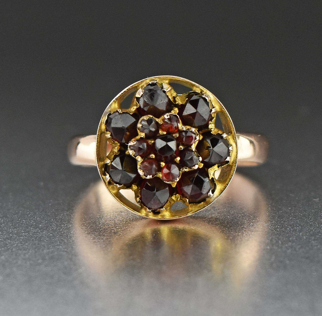 Rose Gold Garnet Flower Cluster Ring - Boylerpf