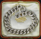 Vintage Silver Embossed Repousse Link Curb Chain Bracelet - Boylerpf