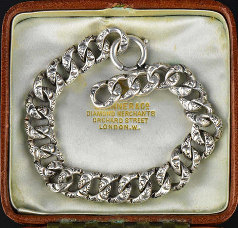 Vintage Silver Embossed Repousse Link Curb Chain Bracelet