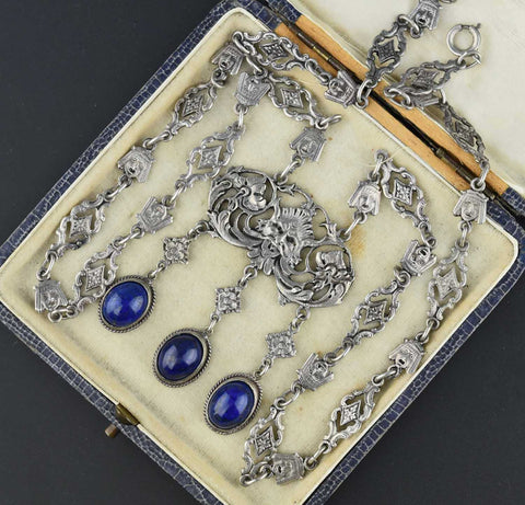 Antique Peruzzi Lapis Lazuli Necklace Coppini Cini Pendant ON HOLD