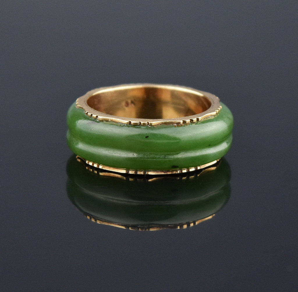 Vintage Wide 18K Gold Jade Eternity Band Ring - Boylerpf