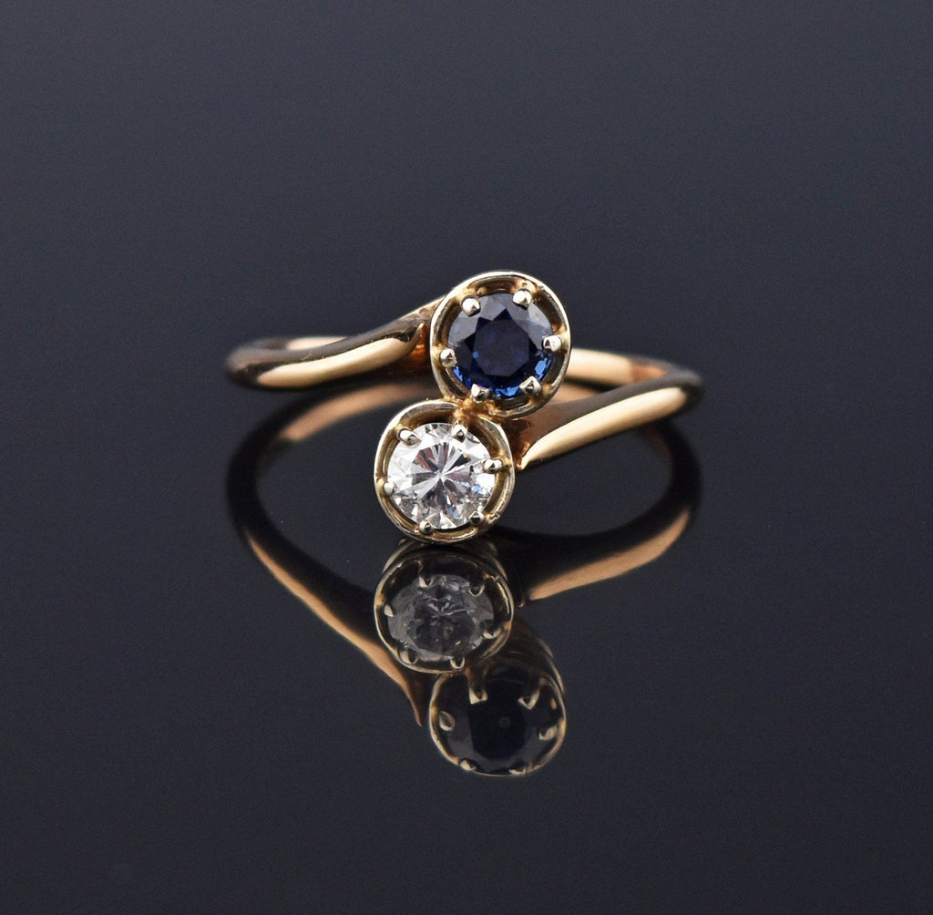 Sapphire and Diamond Bypass Engagement Ring, Toi et Moi - Boylerpf