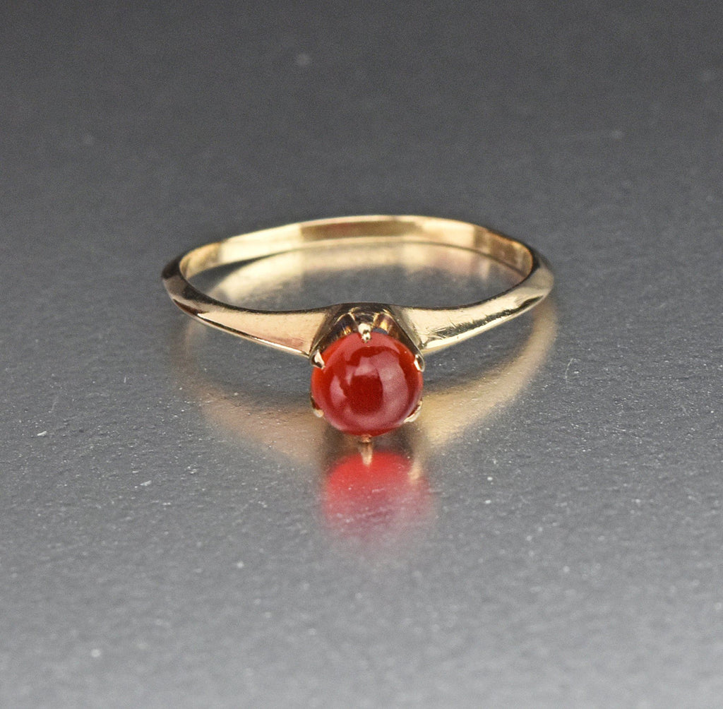 10K Gold Carnelian Solitaire Engagement Ring, C. 1916 - Boylerpf