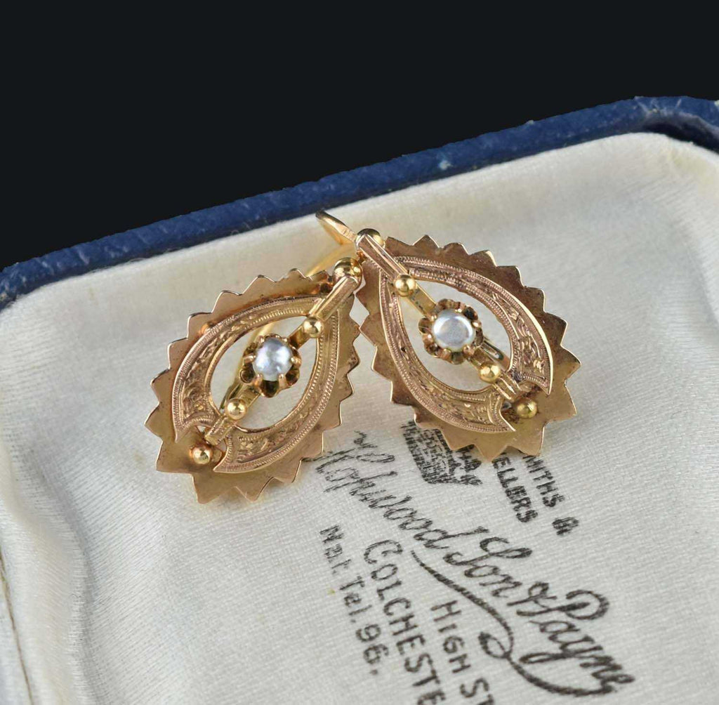 Antique French 18K Gold Pearl Earrings 19th Century - Boylerpf
