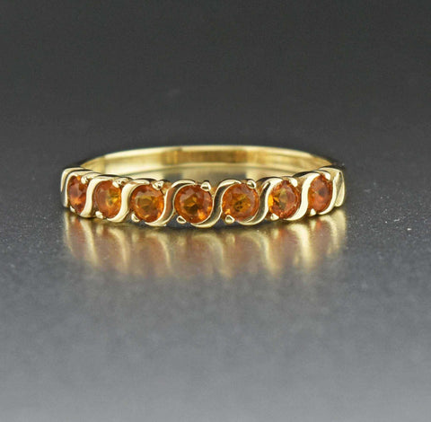 Citrine Half Eternity Wedding Band Ring