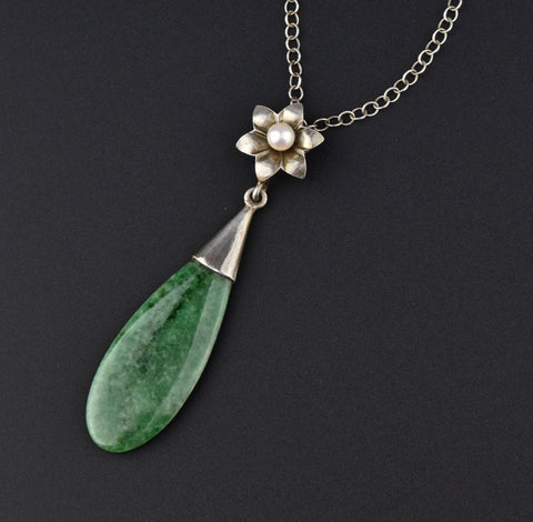 Art Deco Silver Jade Pearl Teardrop Pendant Necklace
