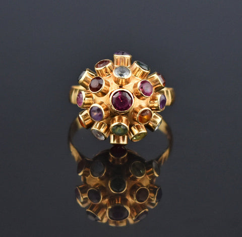 Interchangeable 14K Gold Ring, Topaz, Yellow, Purple Sapphire