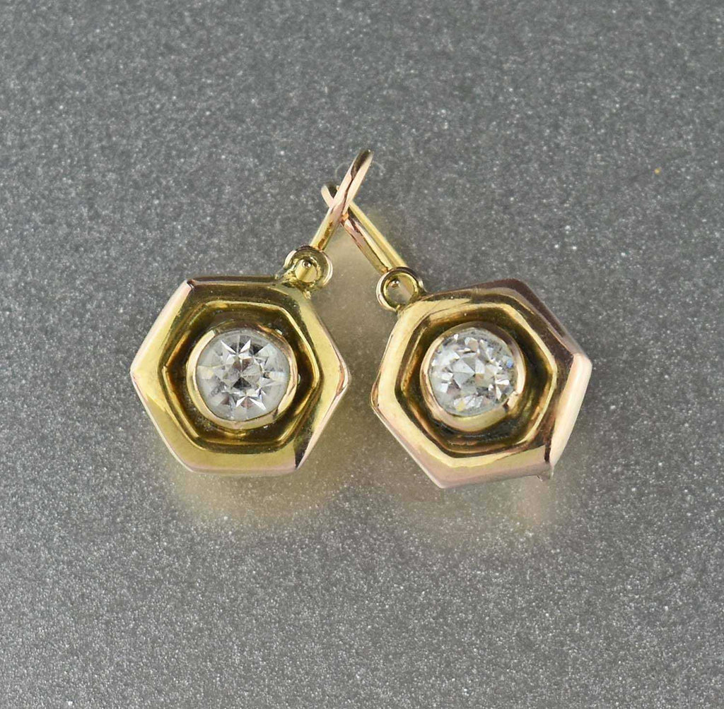 Antique Diamond Paste 12K Gold Dormeuse Earrings - Boylerpf