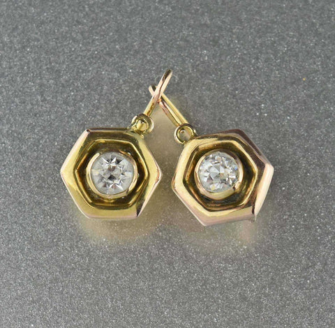 Antique Diamond Paste 12K Gold Dormeuse Earrings