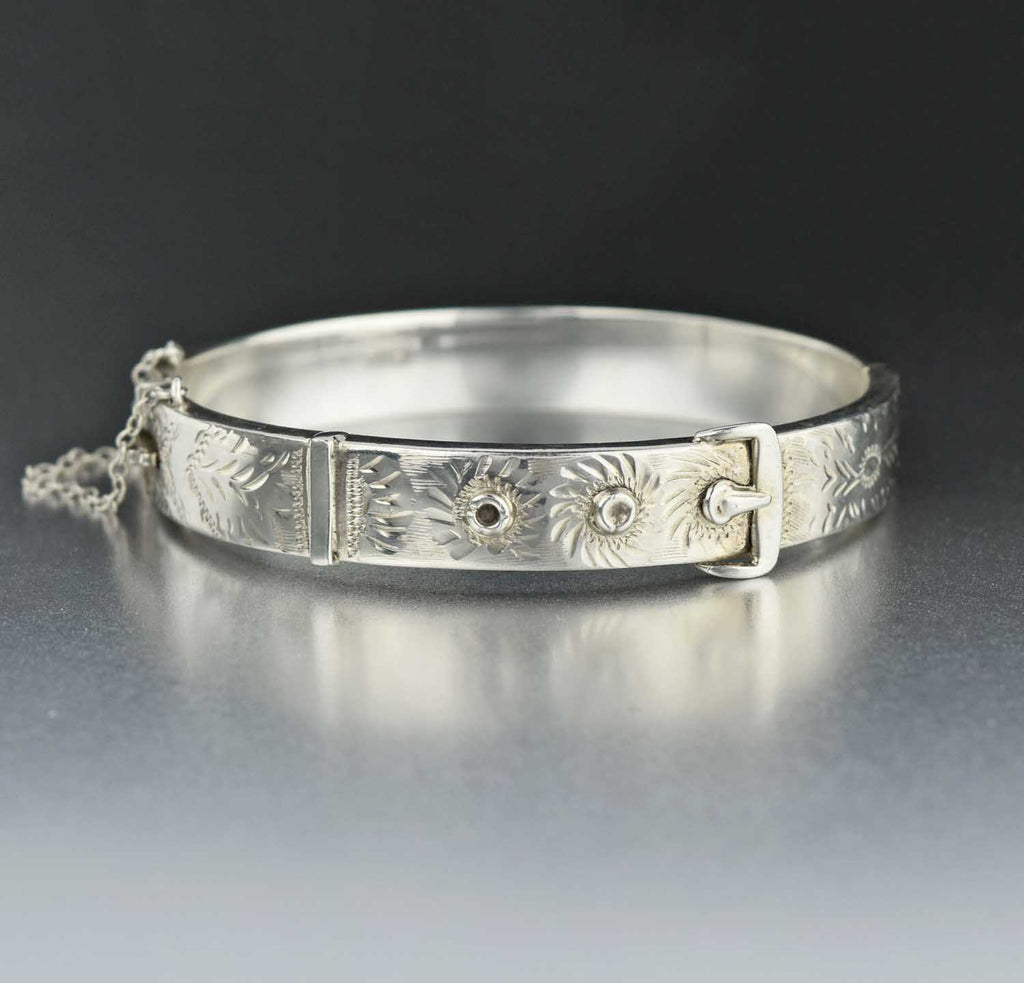 Engraved English Sterling Silver Buckle Bracelet - Boylerpf