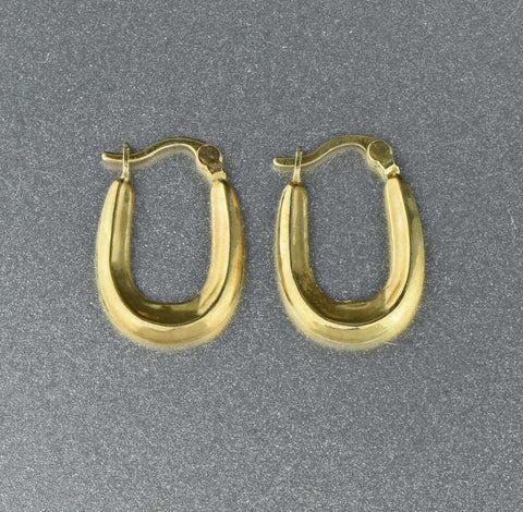 English Embossed Gold Vintage Half Hoop Earrings