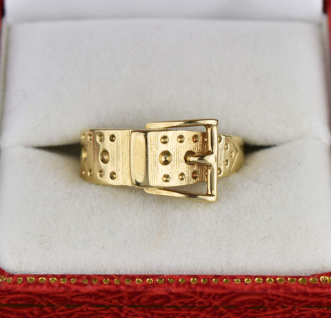 Gold Buckle Ring,Vintage English Solid Gold 1960s