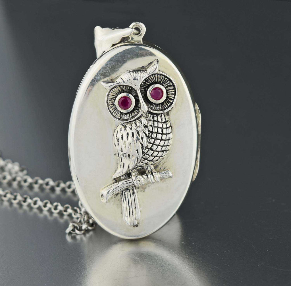 Silver Ruby Owl Locket Pendant Necklace - Boylerpf