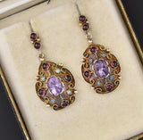 Amethyst Garnet Cabochon Opal Earrings, Gold Vermeil - Boylerpf