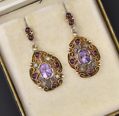 Amethyst Garnet Cabochon Opal Earrings, Gold Vermeil