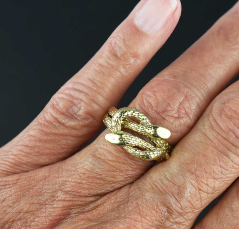 English Gold Double Snake Vintage Ring - ON HOLD