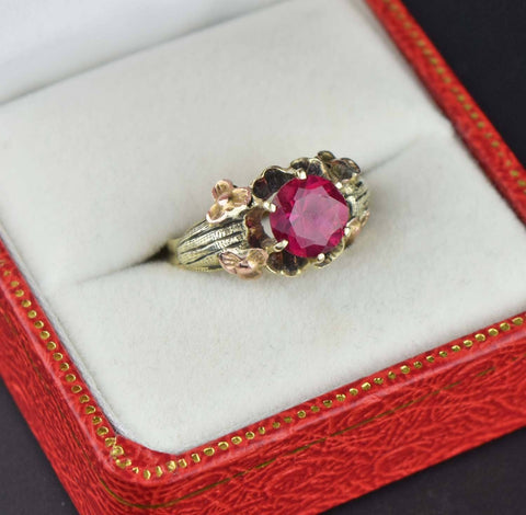 Solid Gold Three Stone Australian Opal Garnet Ring