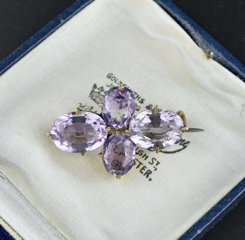 Vintage Antique Sugarloaf Cabochon Amethyst Brooch