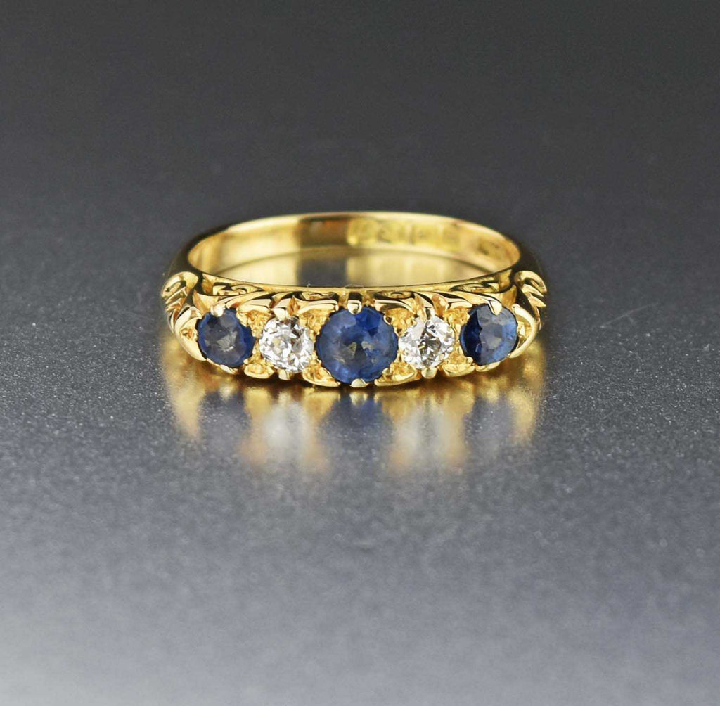 Final Payment Antique 18K Gold Diamond & Sapphire Ring - Boylerpf