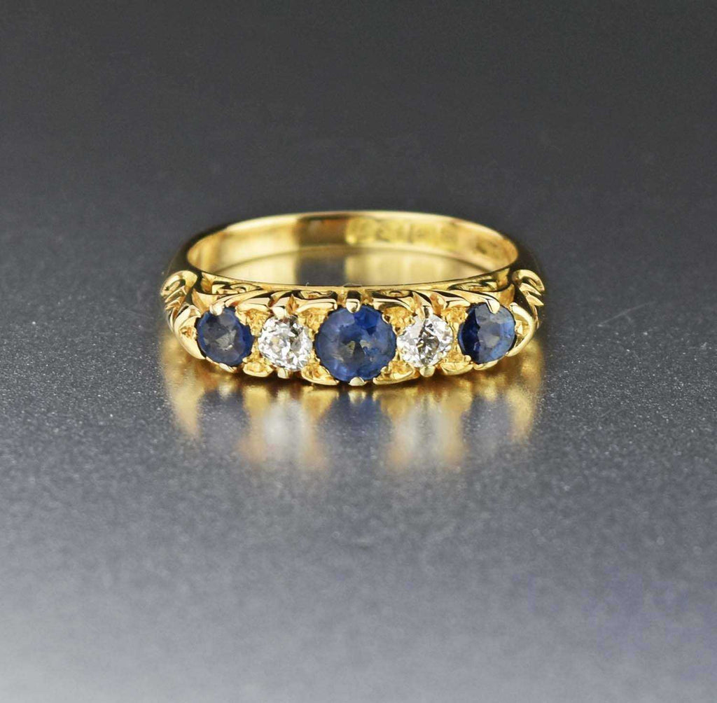 Deposit Antique 18K Gold Diamond & Sapphire Ring - Boylerpf