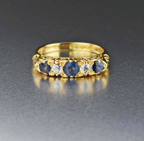 Green Blue Vintage Spinel Ring 14K Yellow Gold 17 CTW