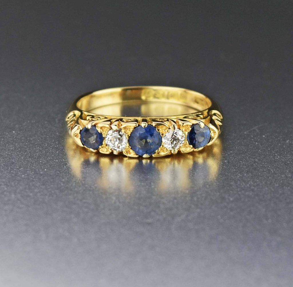 Antique 18K Gold Diamond & Sapphire Ring - ON HOLD - Boylerpf