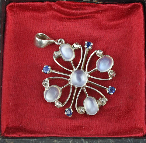 Antique Moonstone Sapphire Pendant Necklace 1920s