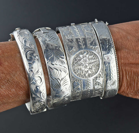 Vintage Silver Forget Me Not Bangle Cuff Bracelet