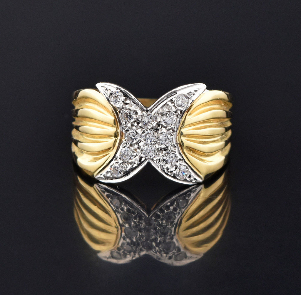 Vintage 14K Gold Diamond Pave Hug X Ring - Boylerpf