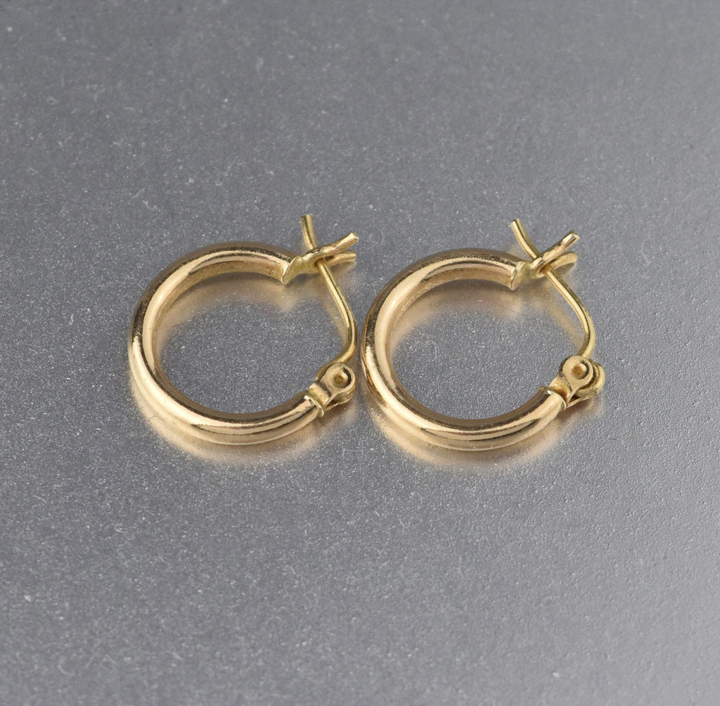 Vintage 14K Gold Half Hoop Earrings - Boylerpf