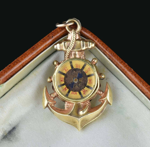 Anchor Watch Fob Pendant Compass Charm