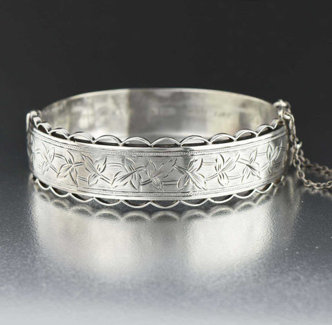 Engraved Ivy Leaf Silver Hinged Cuff Bangle Bracelet