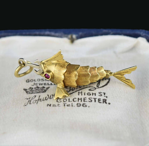 18K Gold Vintage Articulated Fish Charm Pendant