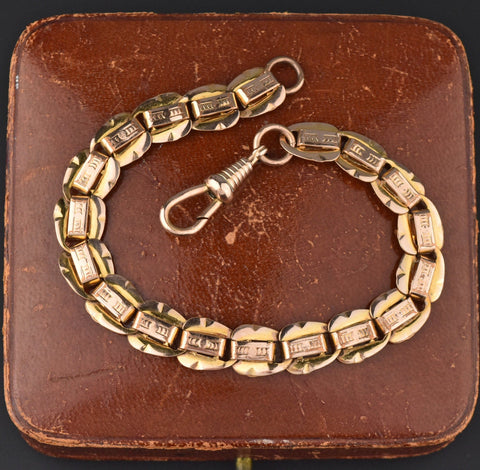 Edwardian Rose Gold Double Sided Watch Chain Bracelet