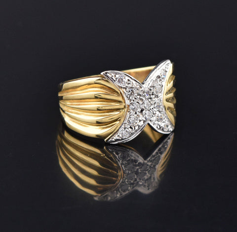 Vintage 14K Gold Diamond Pave Hug X Ring