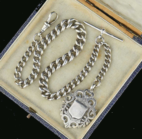 English Antique Albert Watch Chain w Fob 50 gms