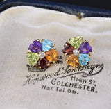 Heart Shape Gemstones Stud Earrings, Citrine Garnet Amethyst - Boylerpf