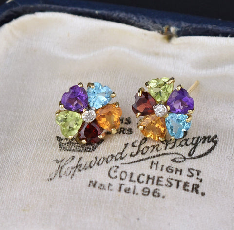 Heart Shape Gemstones Stud Earrings, Citrine Garnet Amethyst