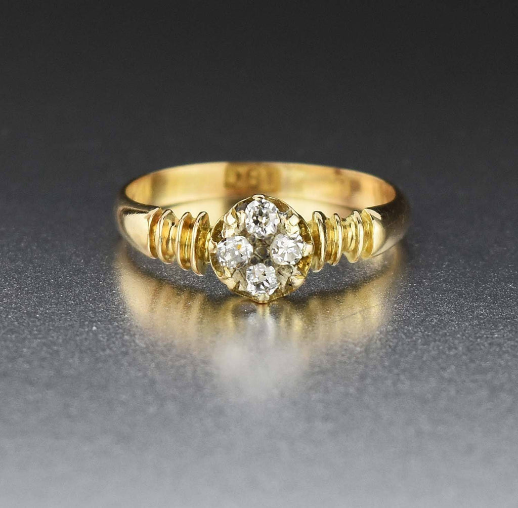 18K Gold Vintage Diamond Cluster Engagement Ring - Boylerpf