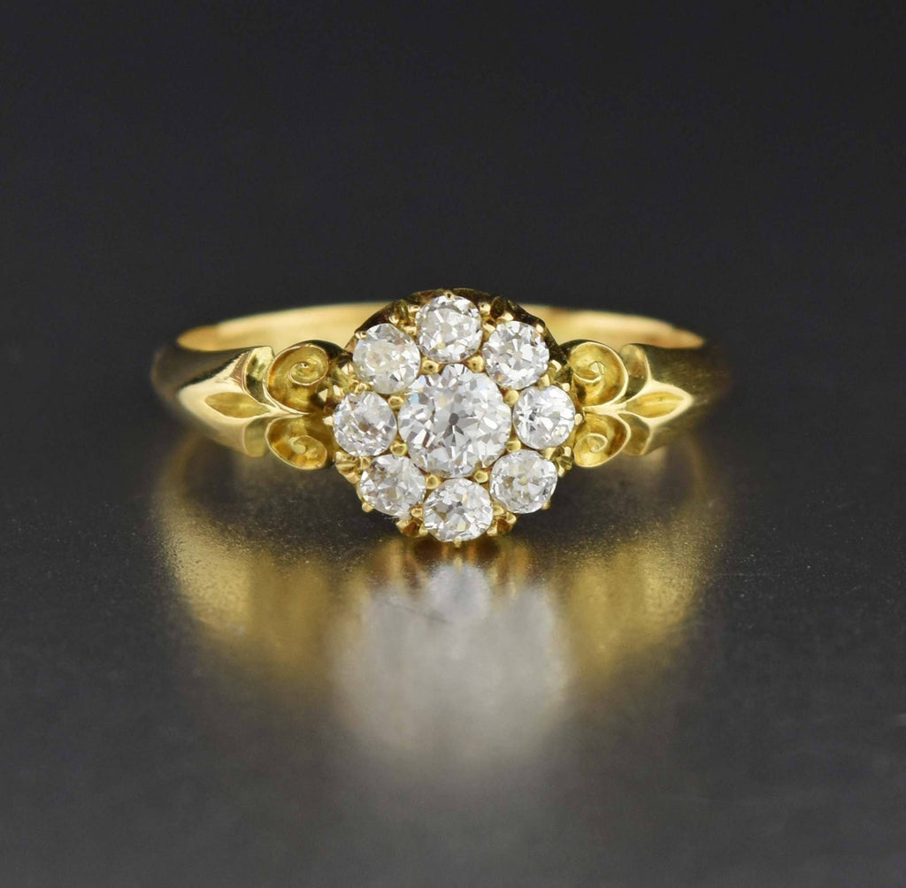 18K Gold Antique Diamond Cluster Engagement Ring - Boylerpf