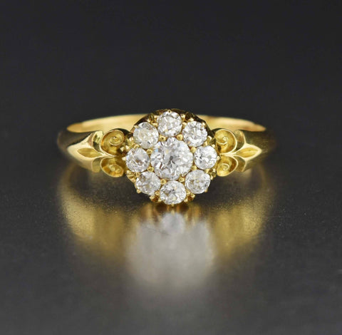 18K Gold Antique Diamond Cluster Engagement Ring