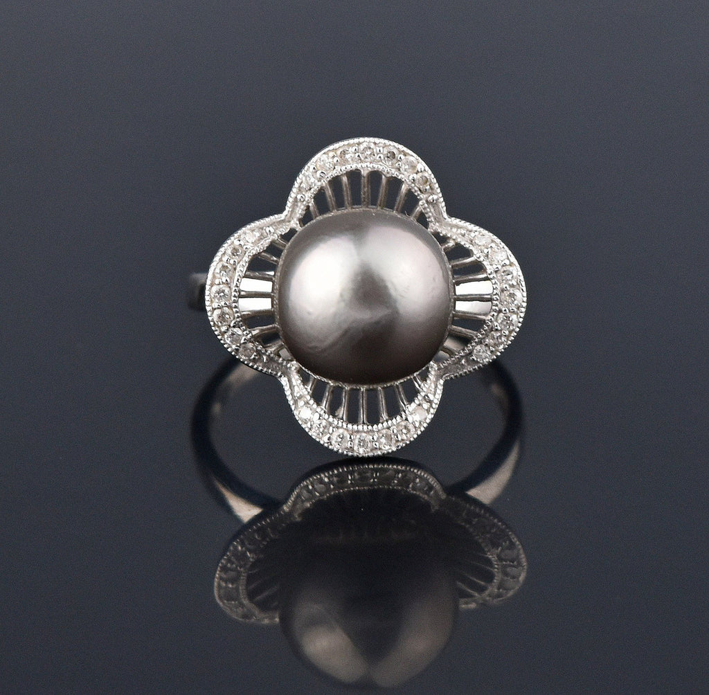 Gray Tahitian Pearl 14K White Gold Diamond Pave Ring - Boylerpf