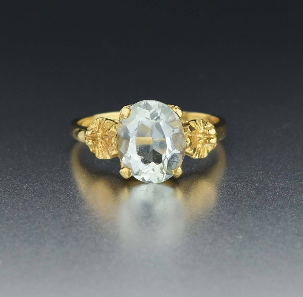 14K Gold Flower Aquamarine Solitaire Ring - Boylerpf