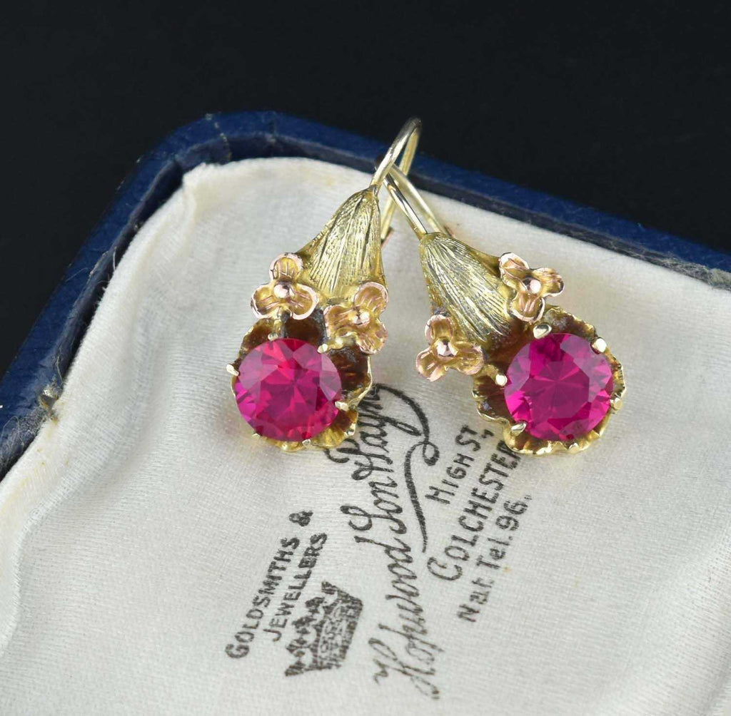 Antique 14K Gold Flower Ruby Earrings - Boylerpf