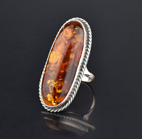 Natural Russian Baltic Amber Huge Statement Ring, Sz 8.25