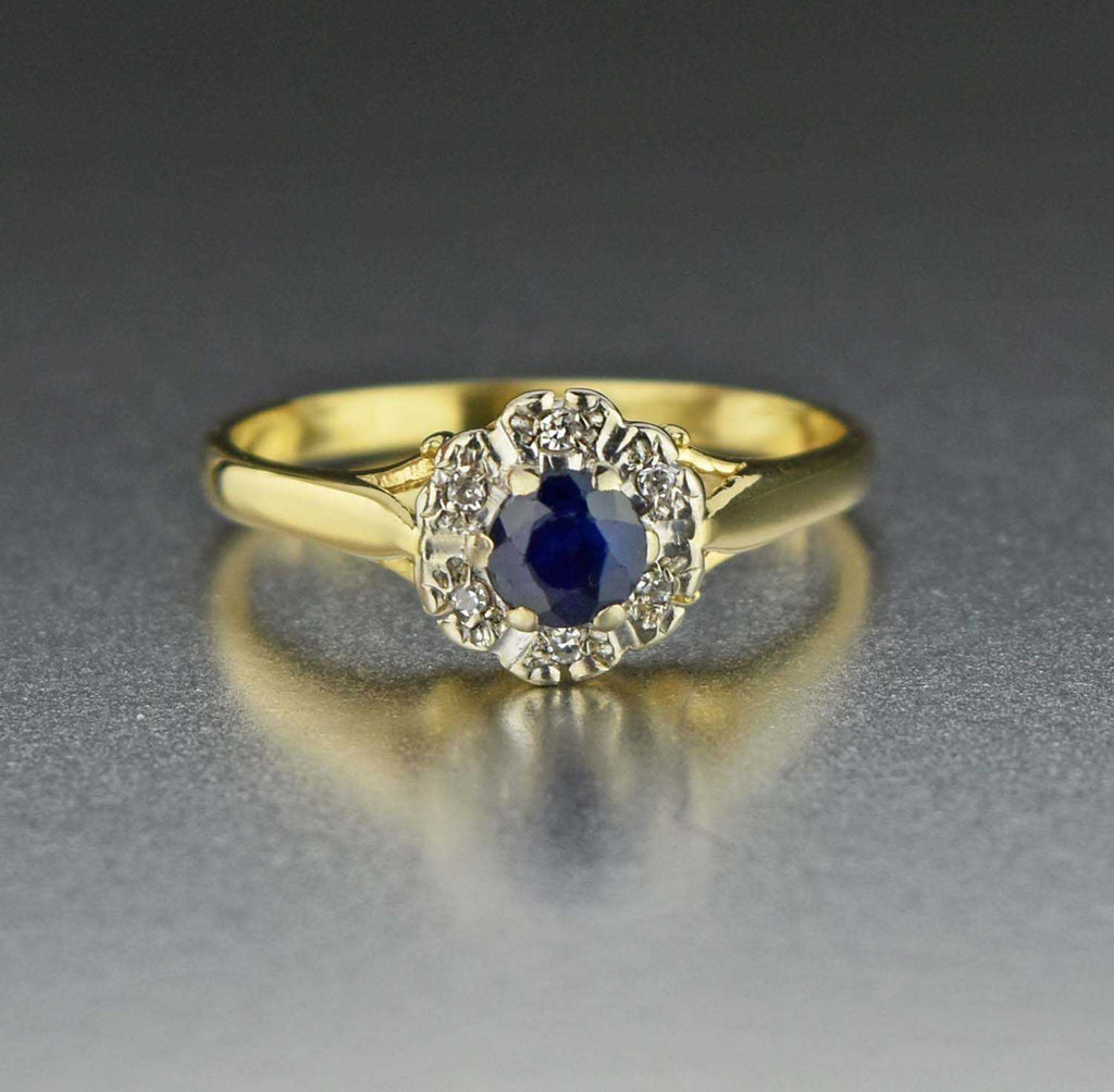 Sapphire Diamond Halo Engagement Ring - Boylerpf