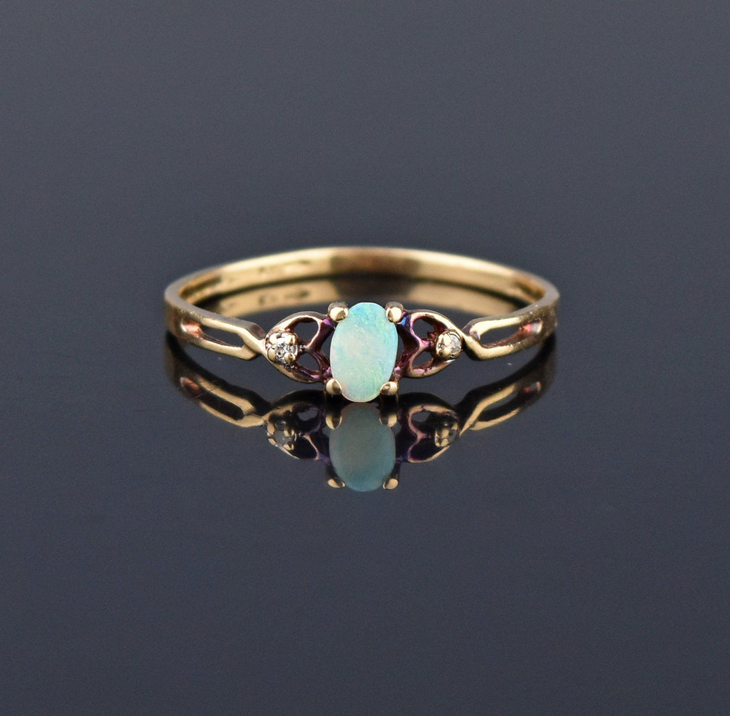 Vintage Diamond Opal Gold Heart Ring - Boylerpf