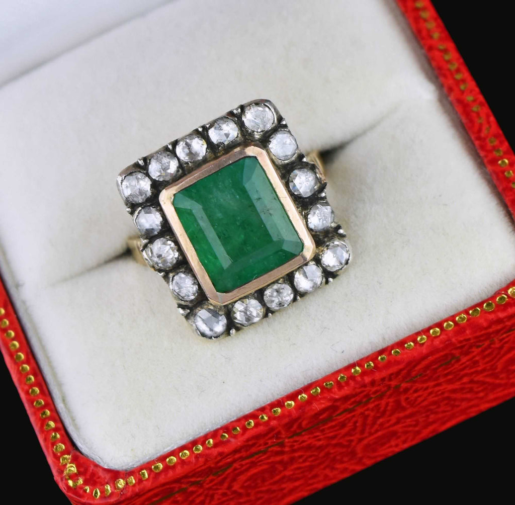 Antique 14K Gold Diamond Halo Emerald ring - Boylerpf