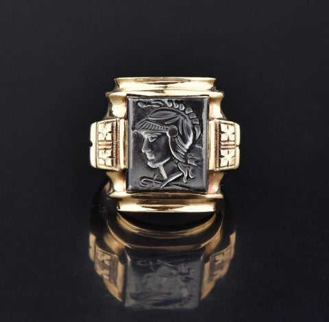 Mens Art Deco Hematite Intaglio Cameo Ring